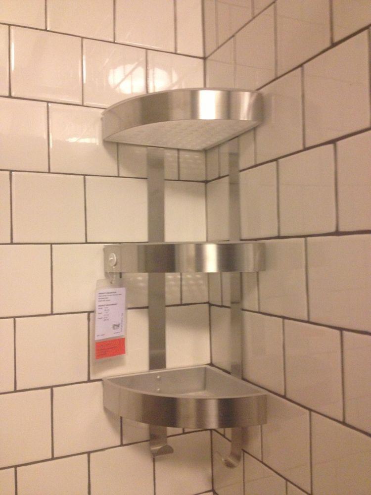 Ikea Shower Grundtal Corner Wall Shelf Unit Stainless Steel 22