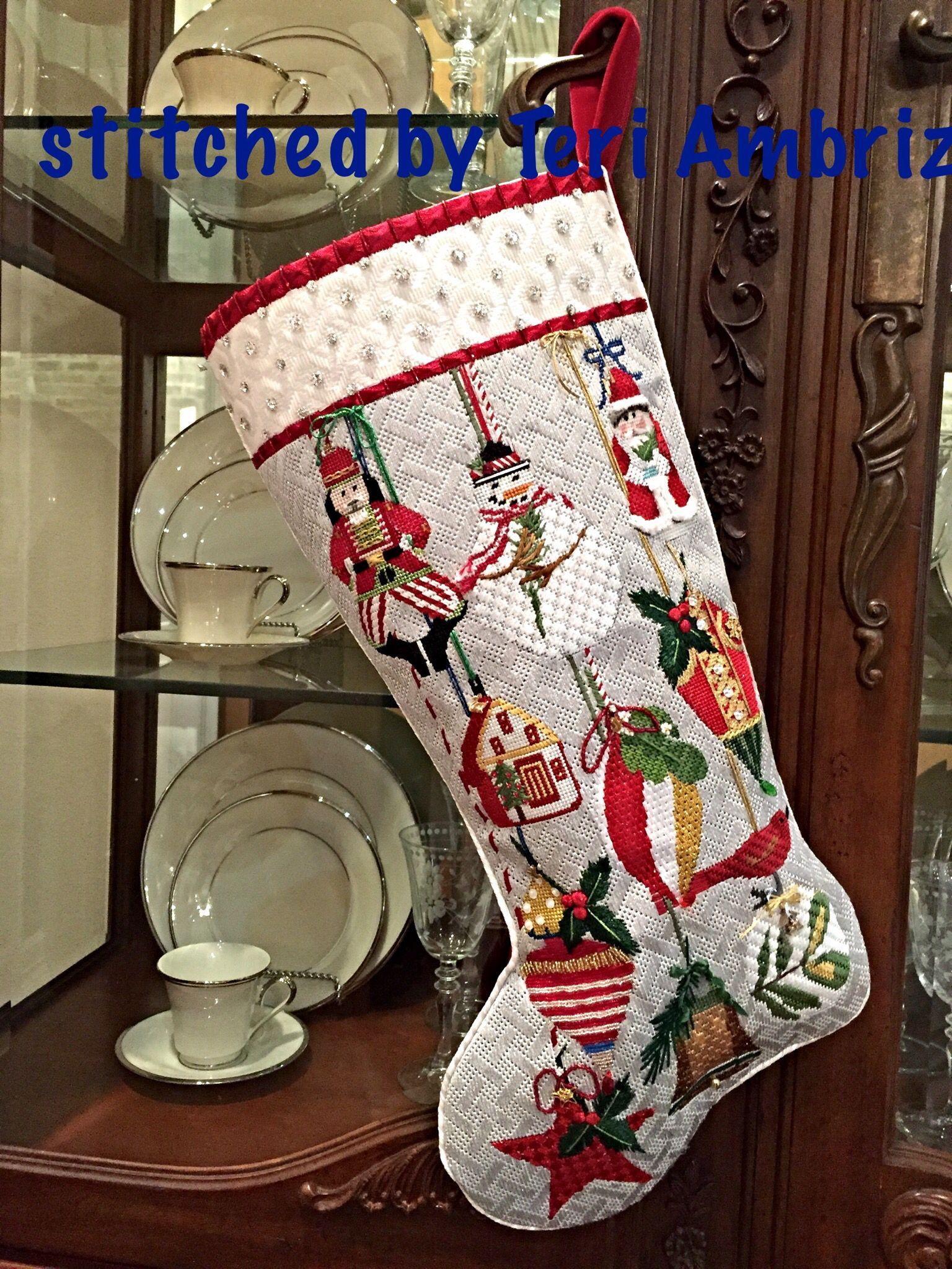 Melissa Shirley ornaments needlepoint stocking, designer Mary Lake Thompson