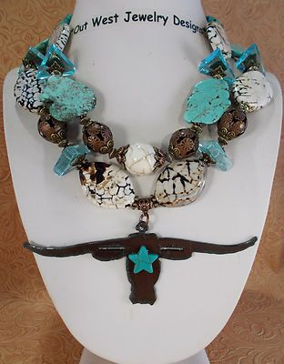Western Cowgirl Necklace Set Chunky Howlite Turquoise Texas Longhorn Pendant | eBay