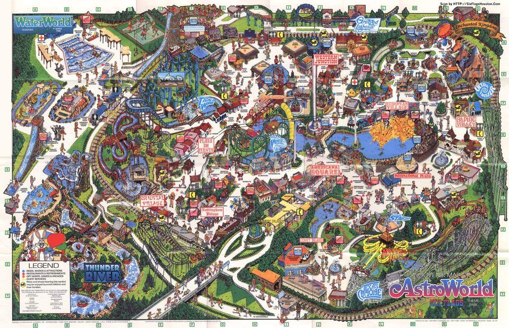 Old Astroworld Map Six Flags Astroworld Houston Vintage Maps