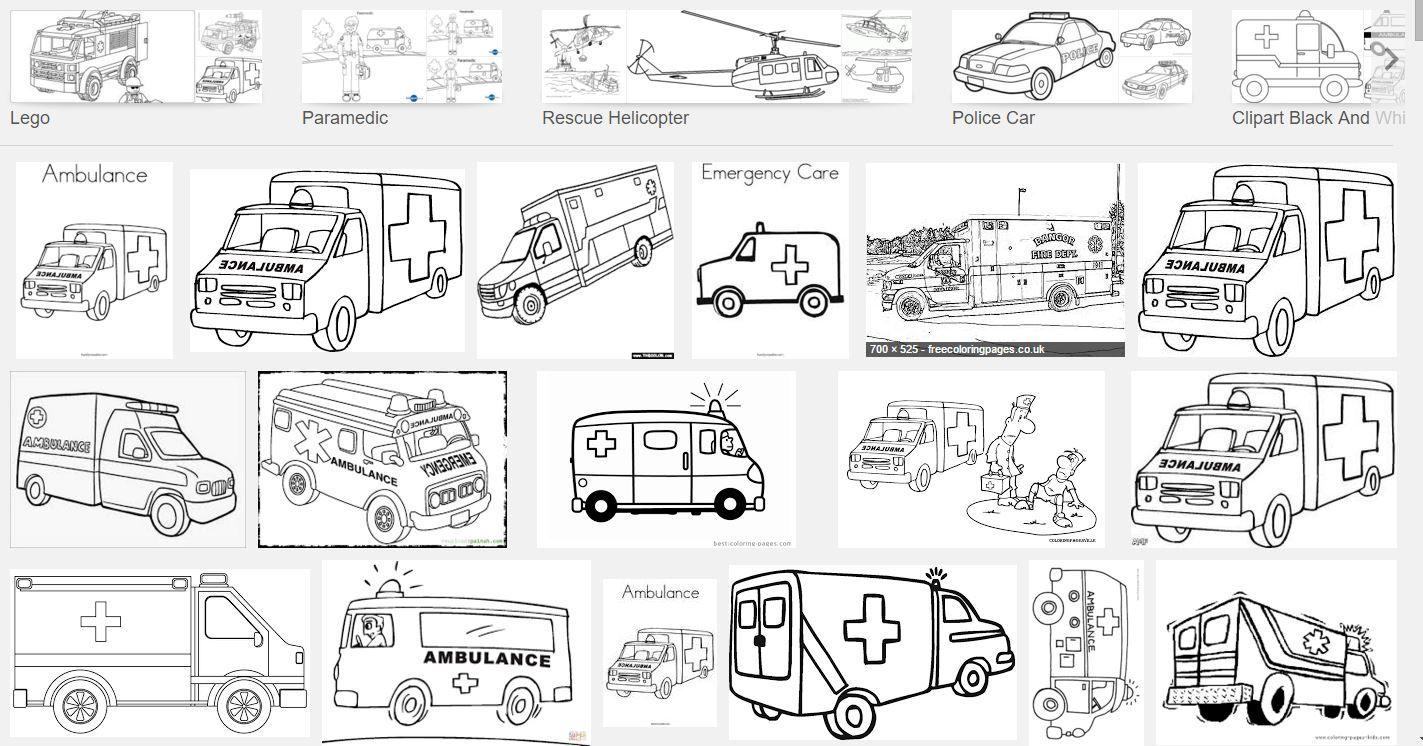 Excelente Car Coloring Pages Ambulancia Patrón - Ideas Para Colorear ...