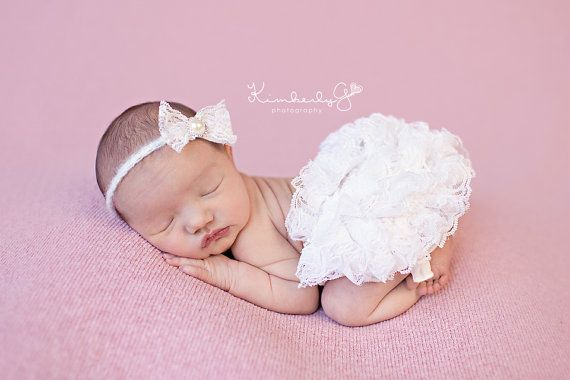 Ivory lace diaper cover newborn baby photography props with matching lace headband in 0 3