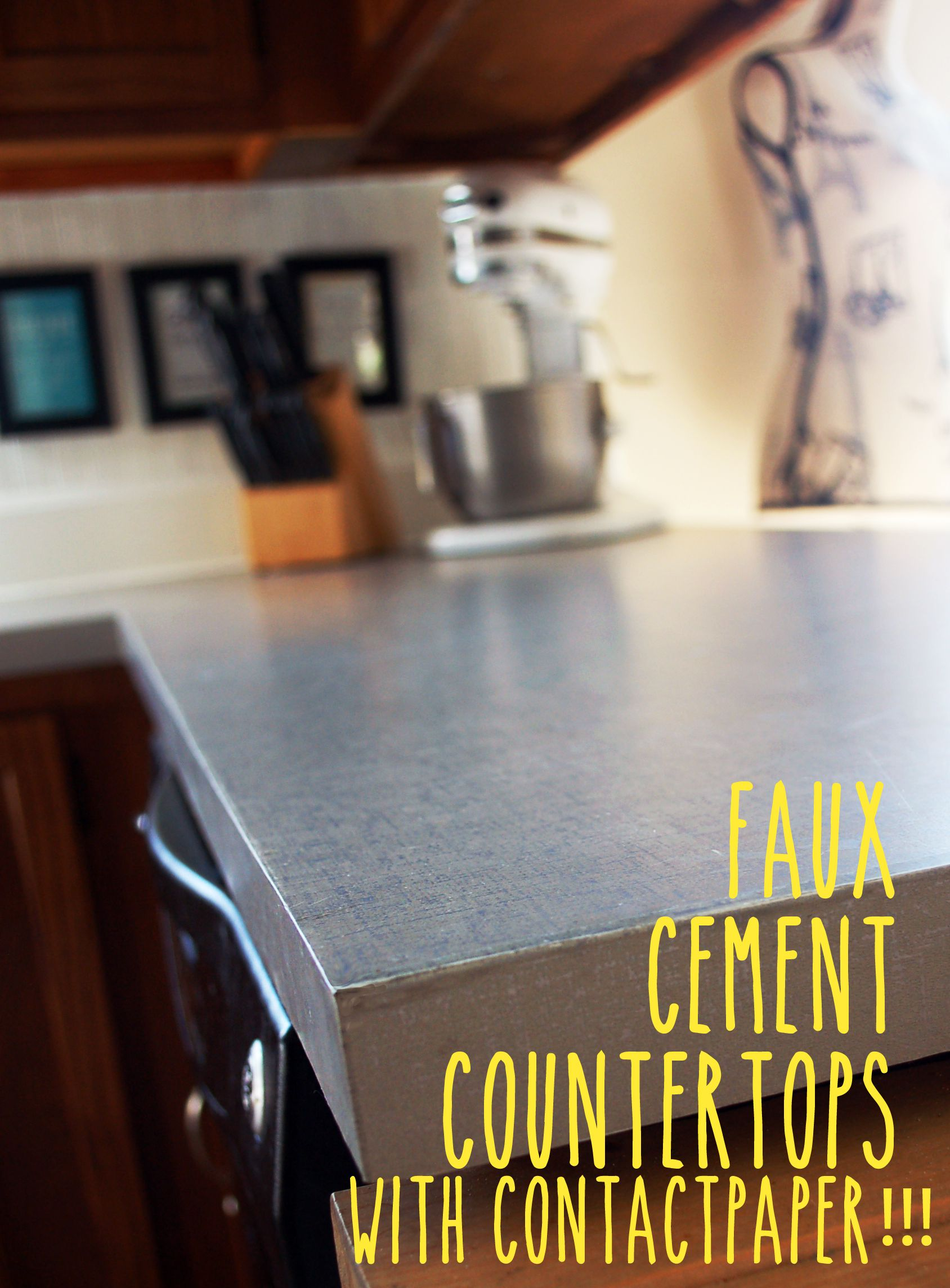 Faux Cement Countertops With Contact Paper This Looks Amazing