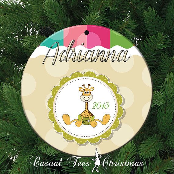Baby Giraffe Personalized Christmas Ornament for by CasualTeeCo