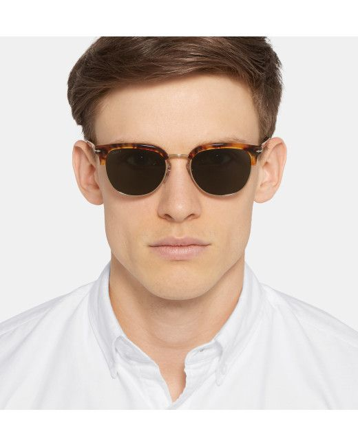 3cef3a647e0 Men s Brown Round-frame Tortoiseshell Acetate And Gold-tone ...