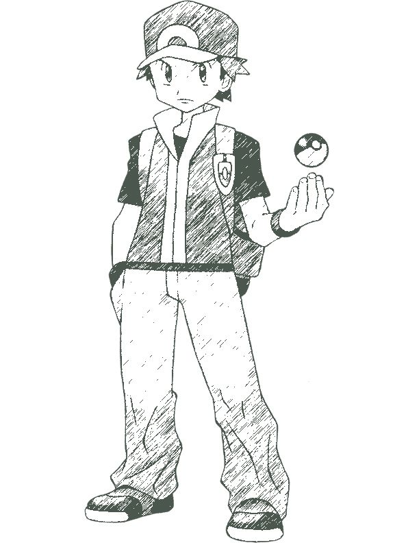Fire Red Pokemon Coloring Pages | Pokemon trainer Red by ...