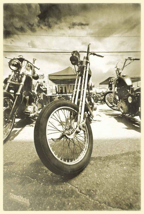 Late 70's choppers - center one with an AEE springer front