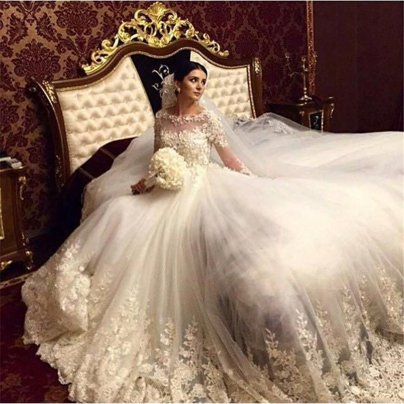 2016 Romantic Victorian Ball Gown Wedding Dresses Scoop Vintage ...