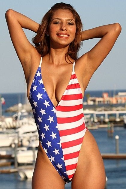 bda5b5b42af6e UjENA Sexy American Womens Swimwear 1-PC 4th of July Bathing Suit Size 4-12  USA  Ujena  OnePiece