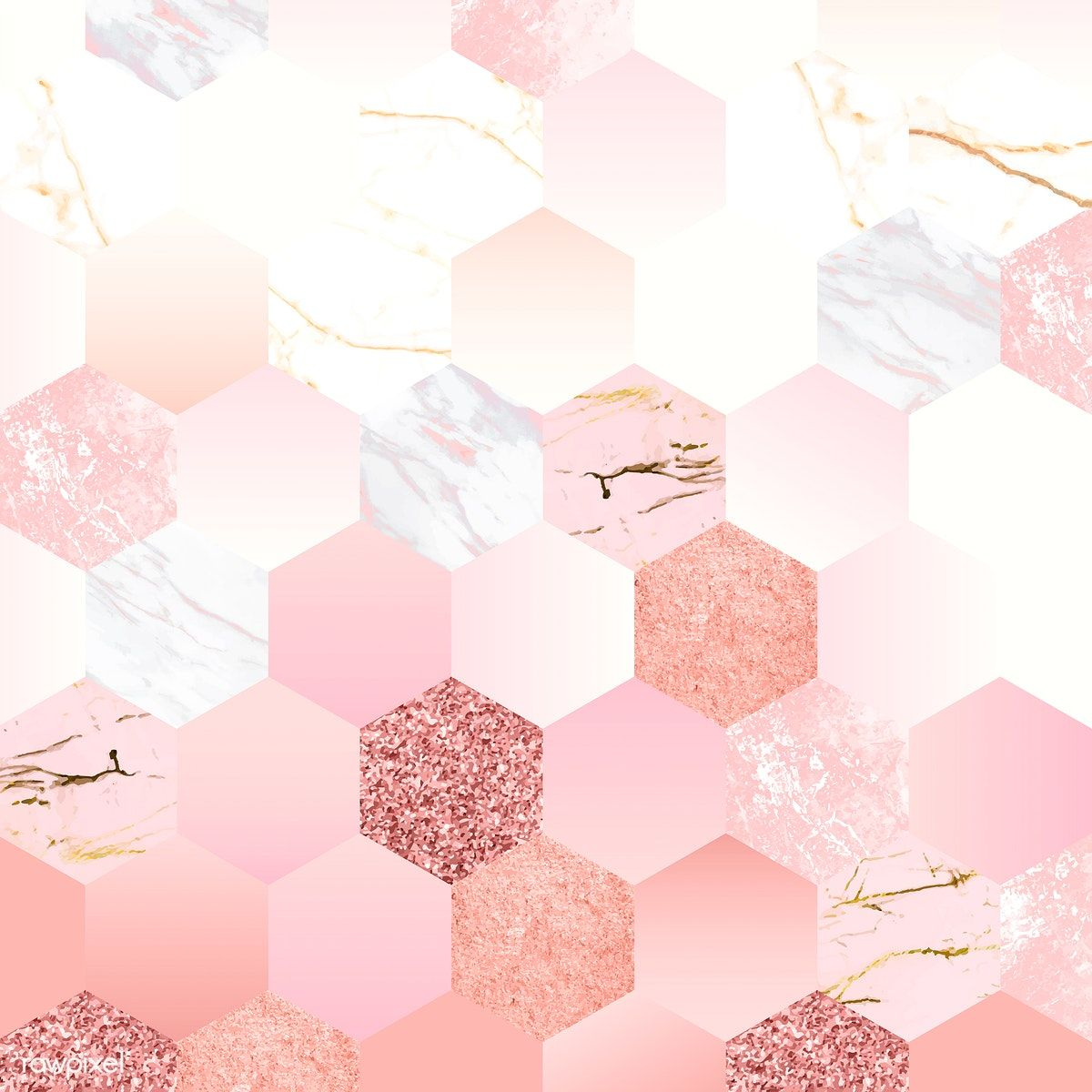Pink Feminine Hexagon Geometric Background Vector Free Image By