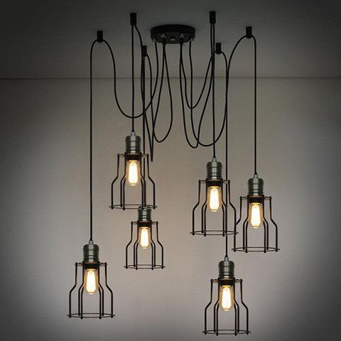 6 head industrial wire cage chandelier pendant lights 6 head industrial wire cage chandelier pendant lights mozeypictures Image collections