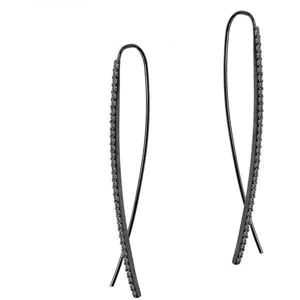 Lana Jewelry Reckless 14k Tiny Black Diamond Hoop Earrings 9EzK5