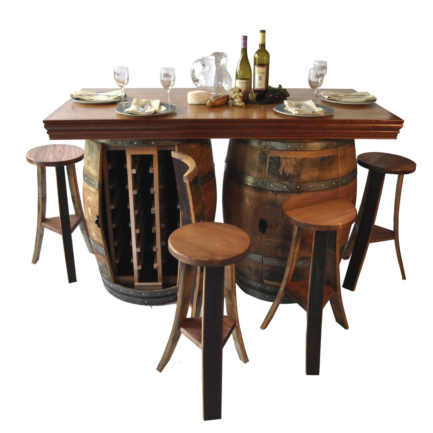 Napa East Collection Wine Barrel Bar Island Set