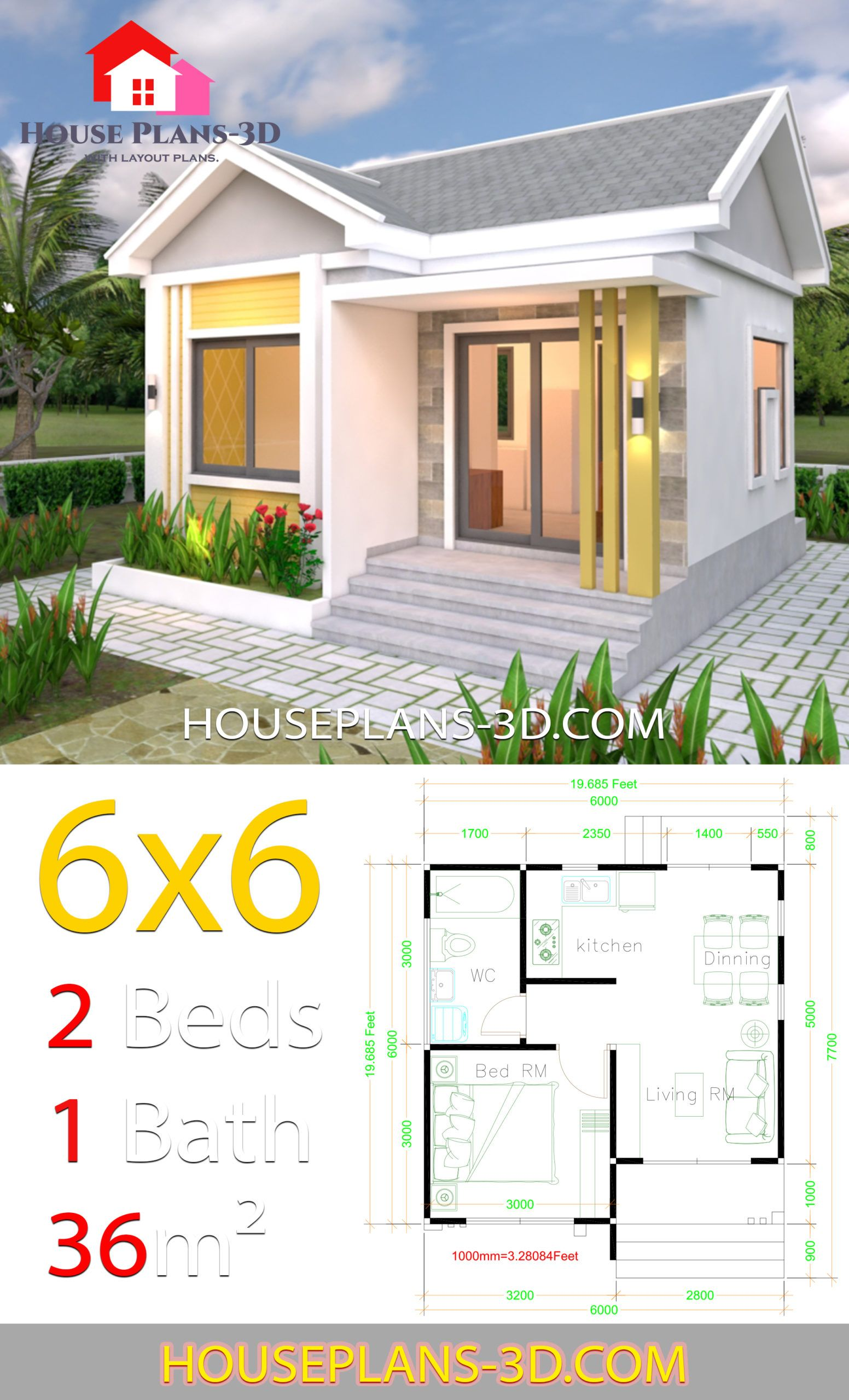 House Plans 6x6 With One Bedrooms Gable Roof House Plans 3d House Plans House Roof Gable Roof House