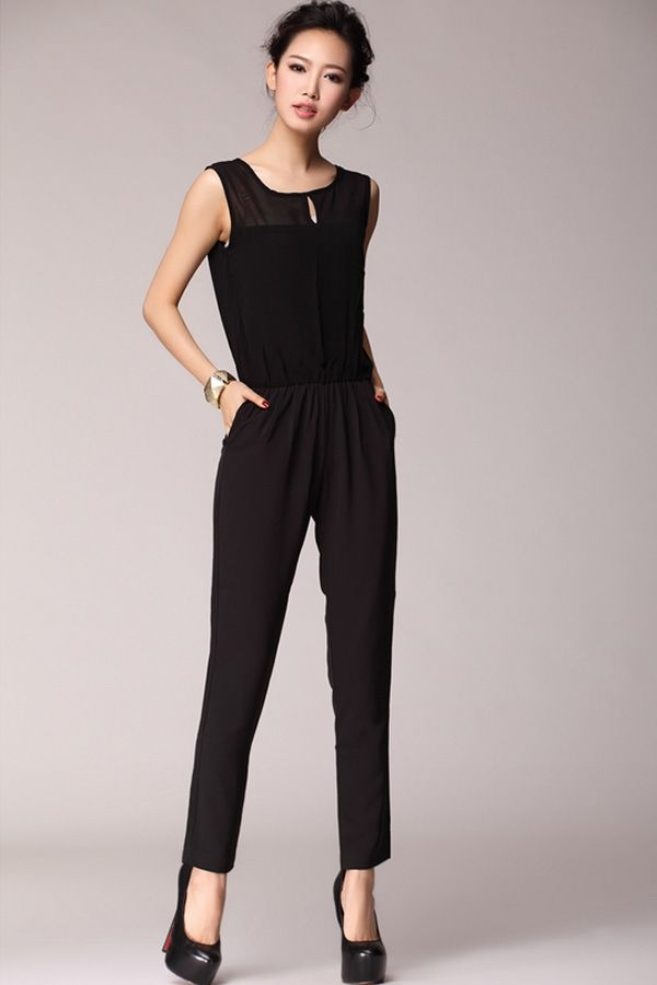 Sheer Yoke Sleeveless Jumpsuits - OASAP.com | Street style shoes ...