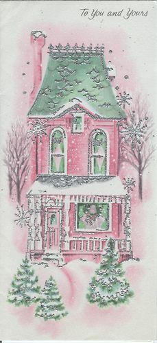 vintage christmas card pink green house in snow antique. Black Bedroom Furniture Sets. Home Design Ideas