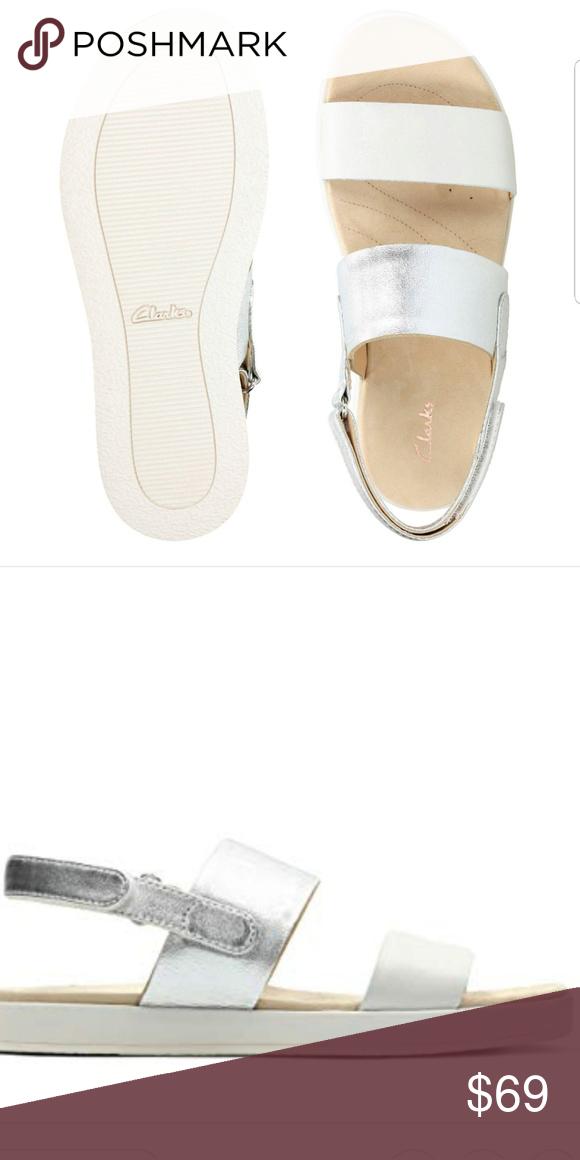 76b95fb21d9 Clarks Botanic Rose Silver White Leather Sandal Botanic Rose women s sandals