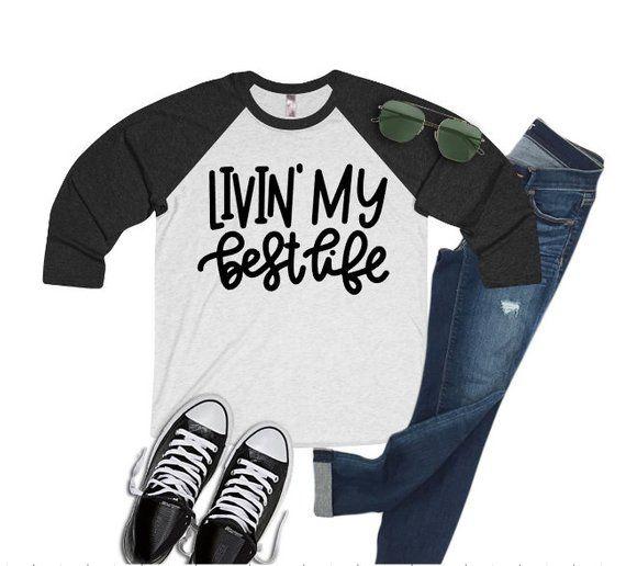6c677b4c4d9fe Livin  My Best Life Shirt   Baseball Style Shirt   Women s Shirt   Living  My Best Life   Positivity