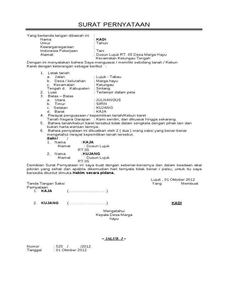I M Reading 110499776 Surat Pernyataan Kepemilikan Tanah On Scribd