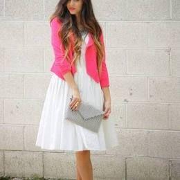 Pink Zip Pocket Pointed Hem Blazer