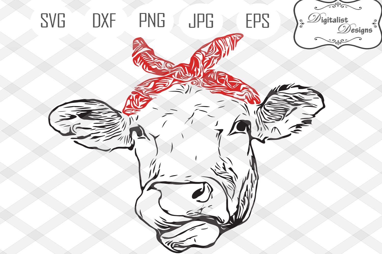 Cow svg, cow clipart, cow face svg, svg files, bandanna