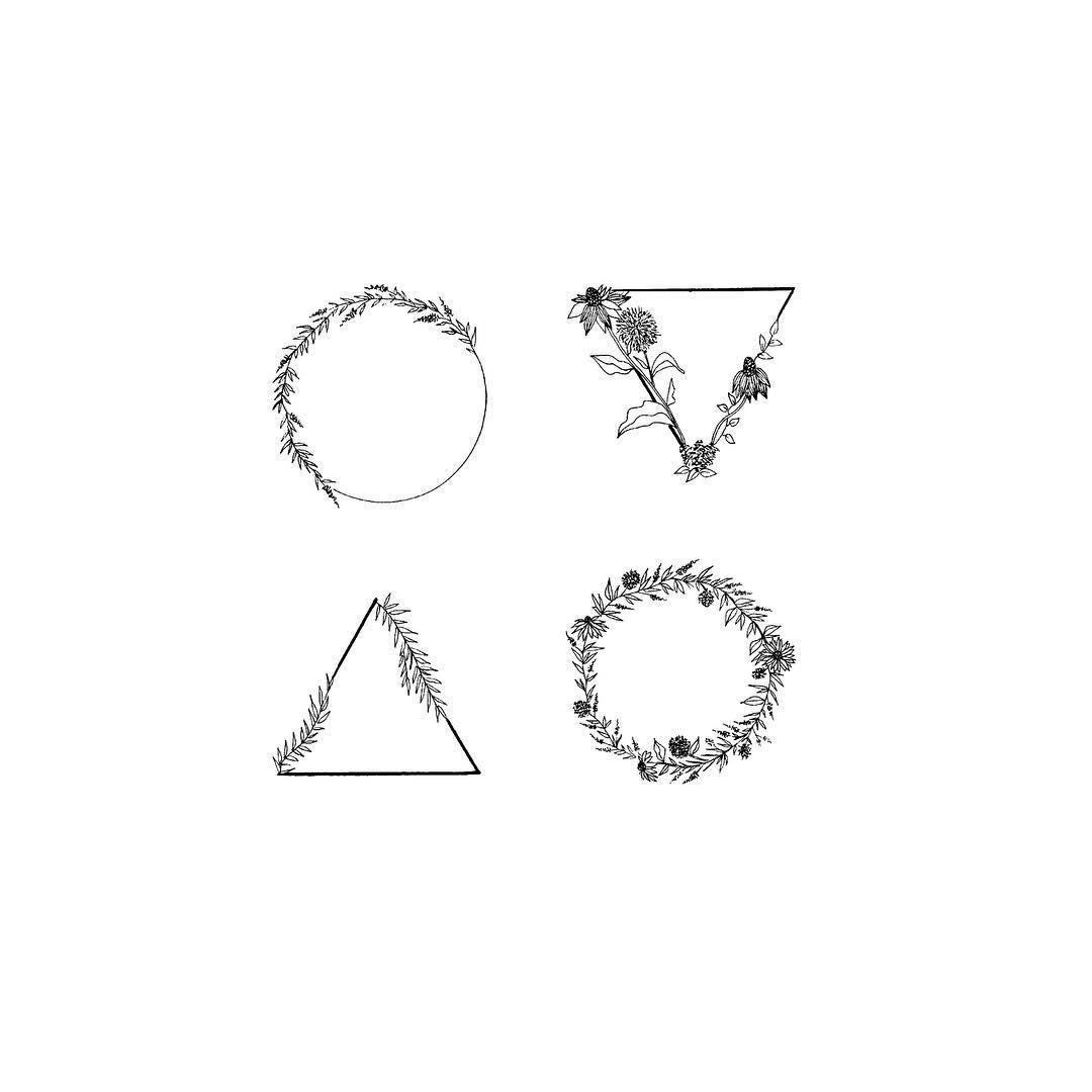 Minimalist Simple Flower Circle Tattoo: Tatouage Triangle, Petit