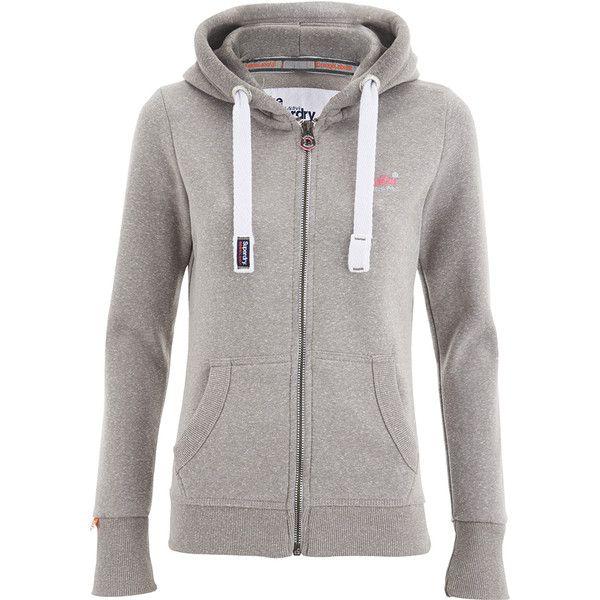 Superdry Women's Orange Label Primary Zip Hoody - Snowy Ash ($39) ❤ liked on Polyvore featuring tops, hoodies, grey, hooded zip sweatshirt, orange zip hoodie, orange hoodie, hooded sweatshirt and grey zip hoodie