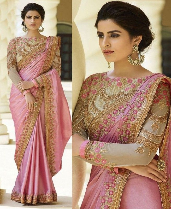 cff39d737 Pink Paper Silk Fabric Machine Work Embroidered Saree