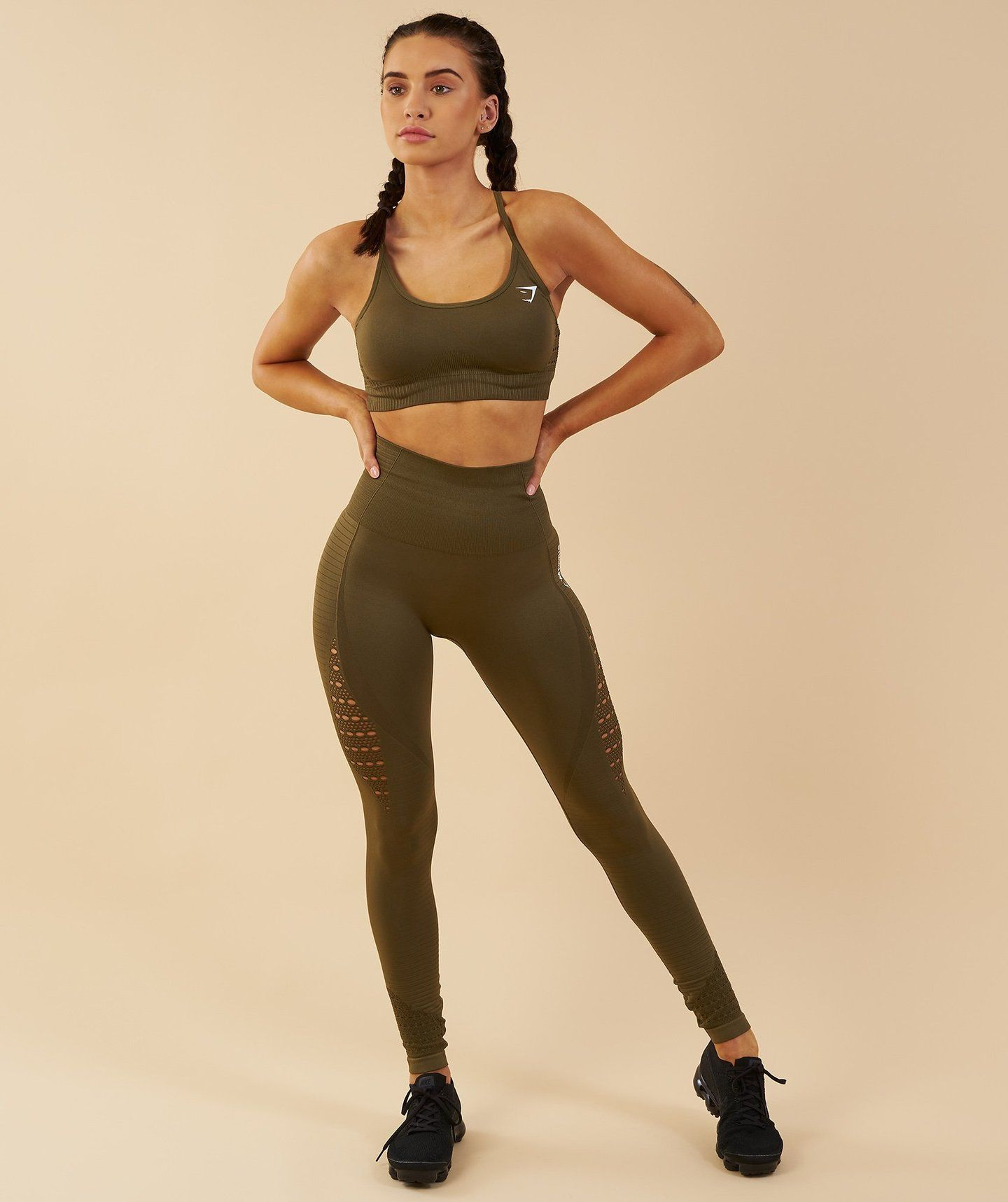 00fdba83e8408 Gymshark Seamless Energy High Waisted Leggings - Khaki 4