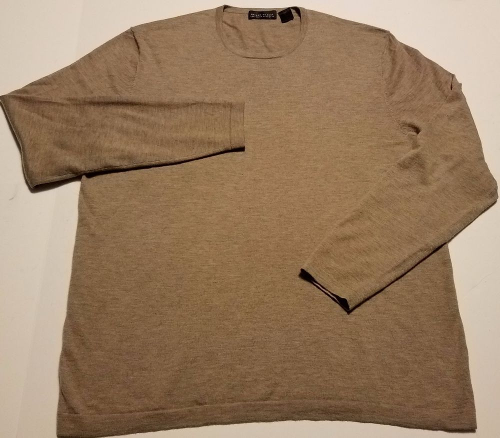 Details about Neiman Marcus Mens Cashmere Sweater Tan Lightweight ...