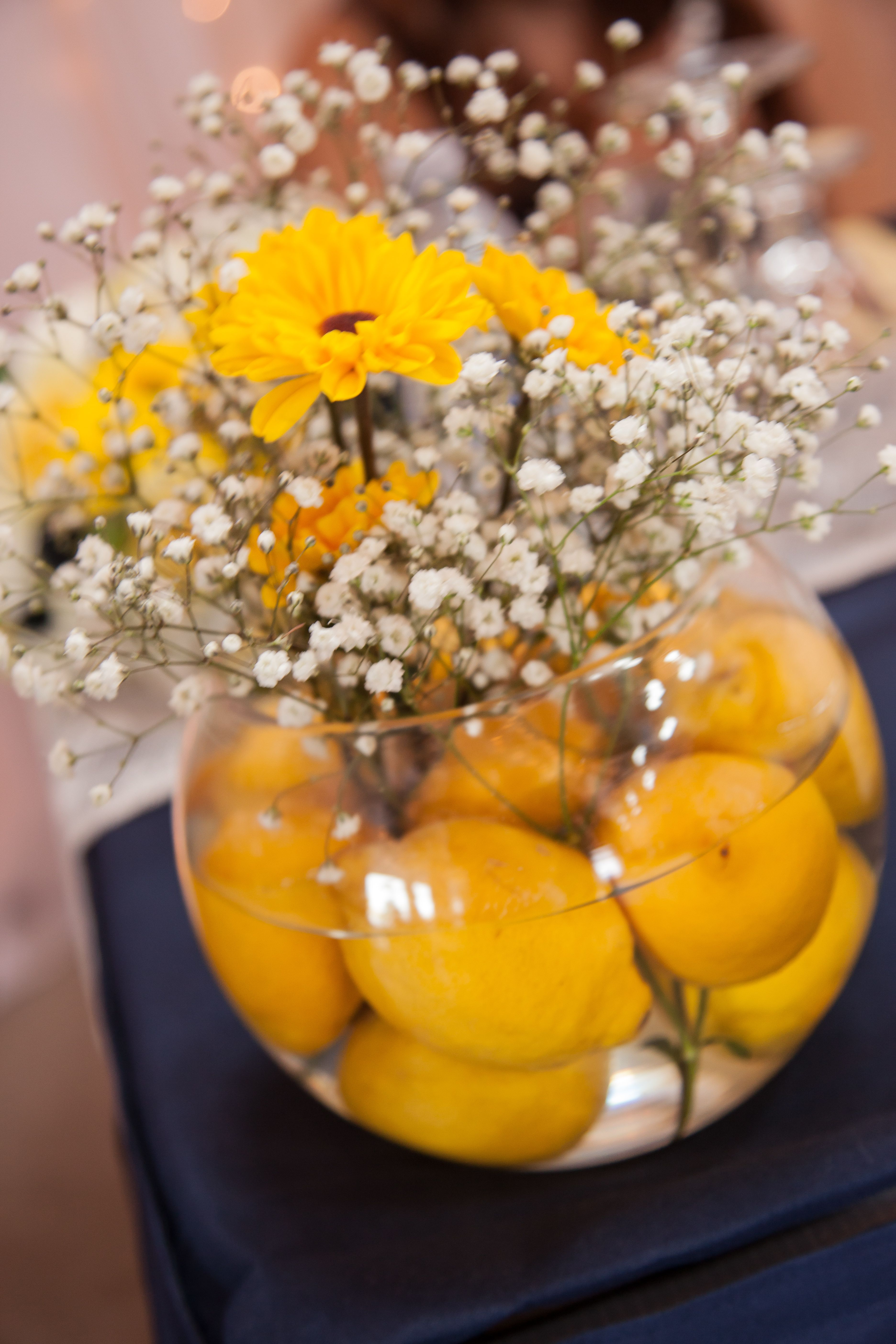 centre piece #navy #yellow #rustic #lemons