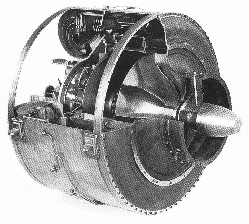 An Hes 3b Engine Successor To The He S 1 Turbojet Which At Diagram Showing Operation Of Axial Flow End February 1937was Tested With Hydrogen Fuel And Produced A Thrust 250 Pounds