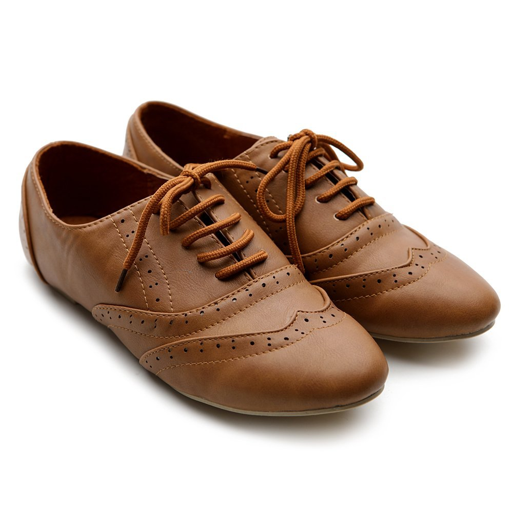 add32cad91ce8 Amazon.com: Ollio Women's Classic Dress Oxfords Low Flats Heels Lace ...