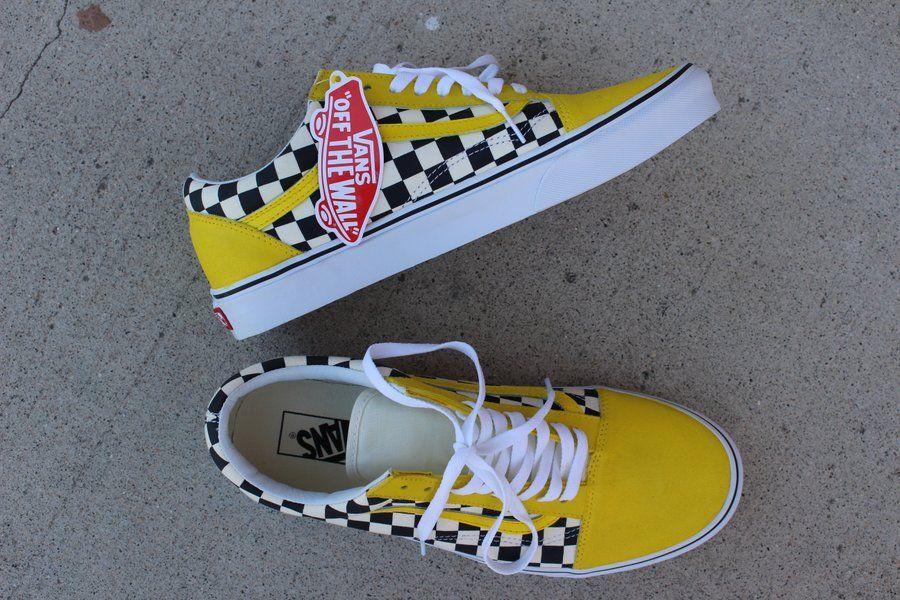 yellow checkered vans for girls