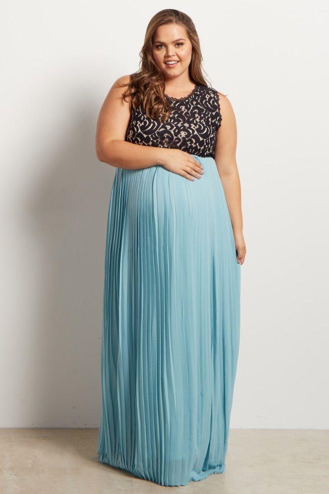 53ff93db022 Light Blue Pleated Chiffon Lace Top Plus Size Maternity Maxi Dress ...
