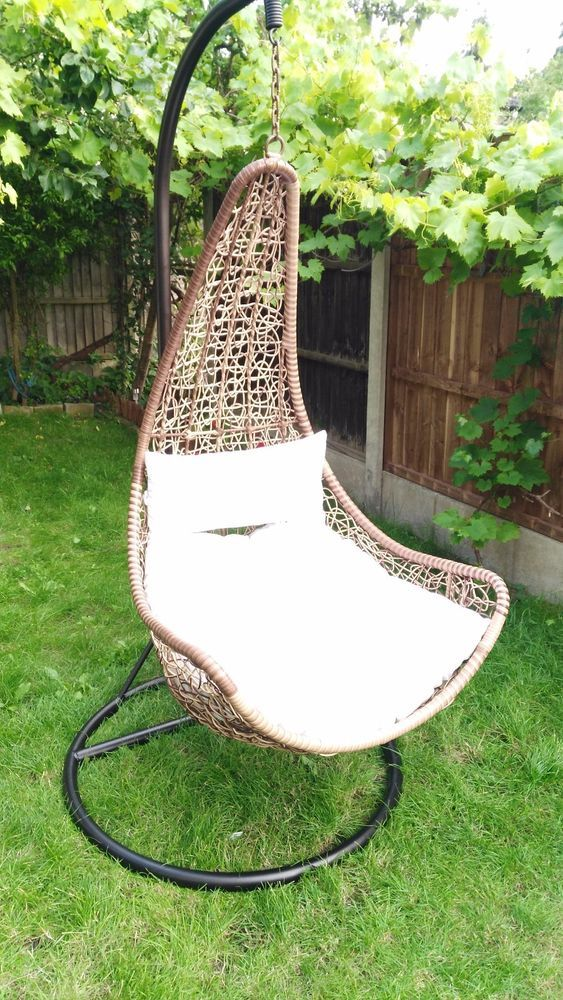 CLEARENCE!!! Garden Hanging Wicker Rattan Chair Swing Patio Egg - ausenbereich hangekorbsessel egg