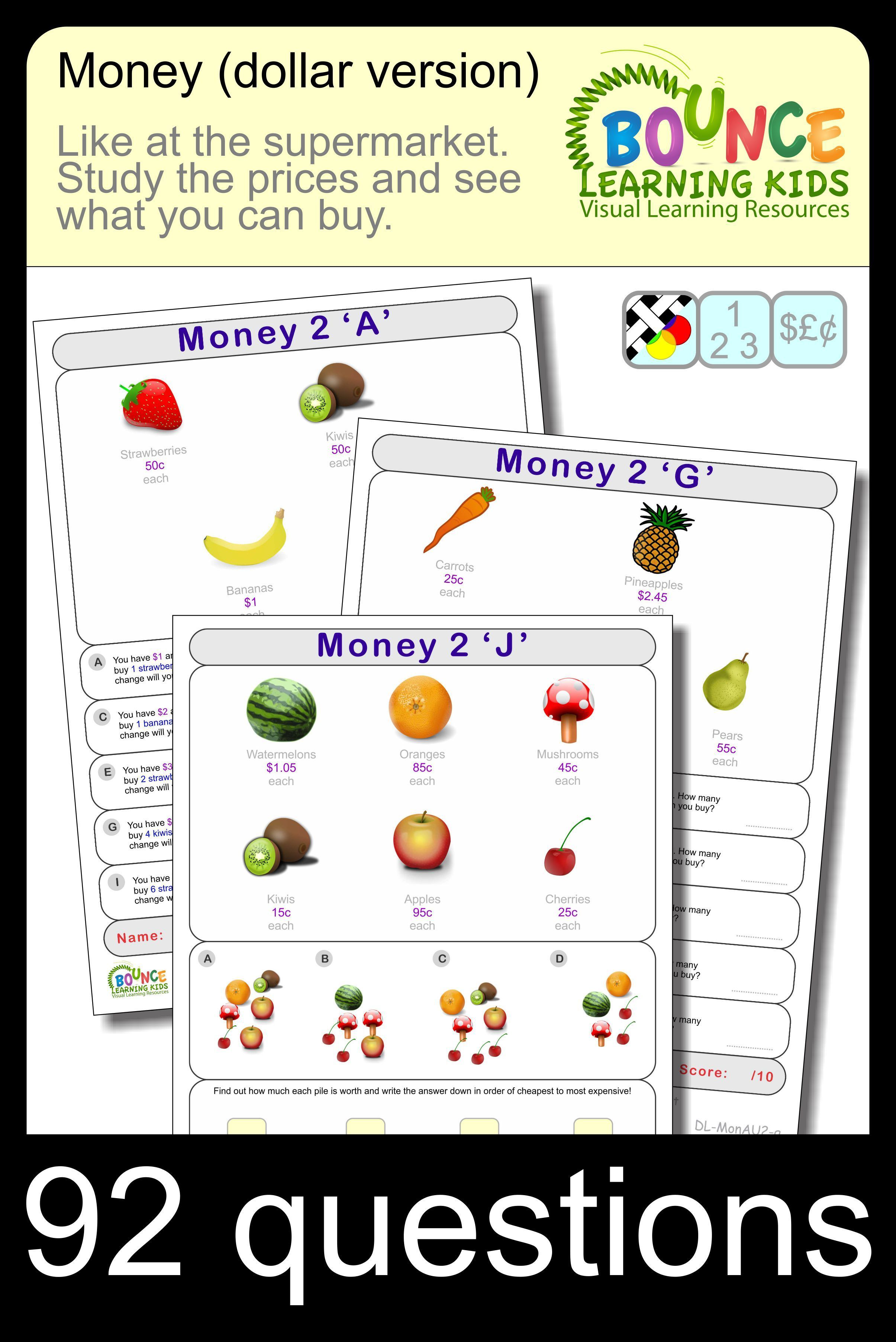 Free Worksheets Learn To Count Money With These Fun Worksheets Using Dollar Notation Various Items Money Math Worksheets Money Math Homeschool Elementary [ 3610 x 2410 Pixel ]