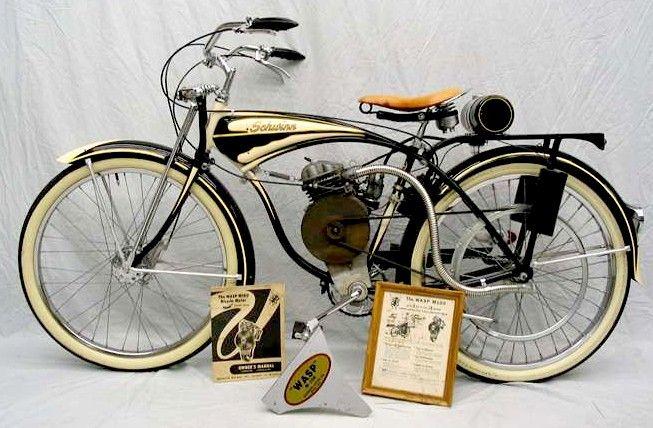 Motorbike Whizzer Schwinn Frame Wasp Motor Ca 1948 Restored Schwinn Motorbikes Old Motorcycles
