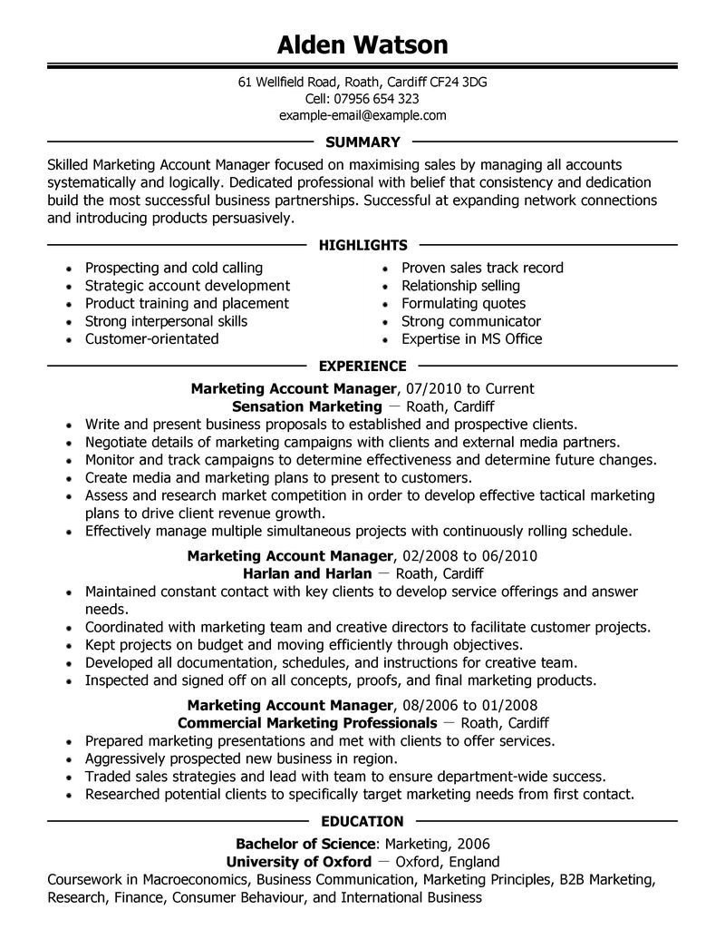 Account Manager Resume Examples - http://www.jobresume.website ...