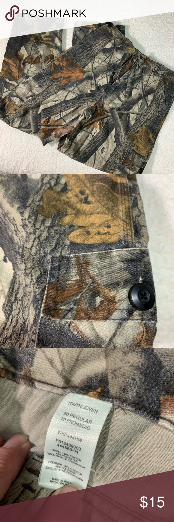 Liberty camp jeans size 20  T1192 Perfect for the season tag says youth 20 but need to use measurements also very clean no rips this one sat in the deer stand not out in the pasture . Pockets on legs with buttons.  Has a stretch band on sides  Waist 16 in Length 42 in Inseam 30 in Ankle width 9in Rise 13 in  Thank you for shopping my closet 👡👚👗❤️❤️👢🧳🧢🥾 (all measurements  taken laying flat)and are approximately  All items are from a smoke free 🔥and pet free 🐶🐱home have a great week. Pl