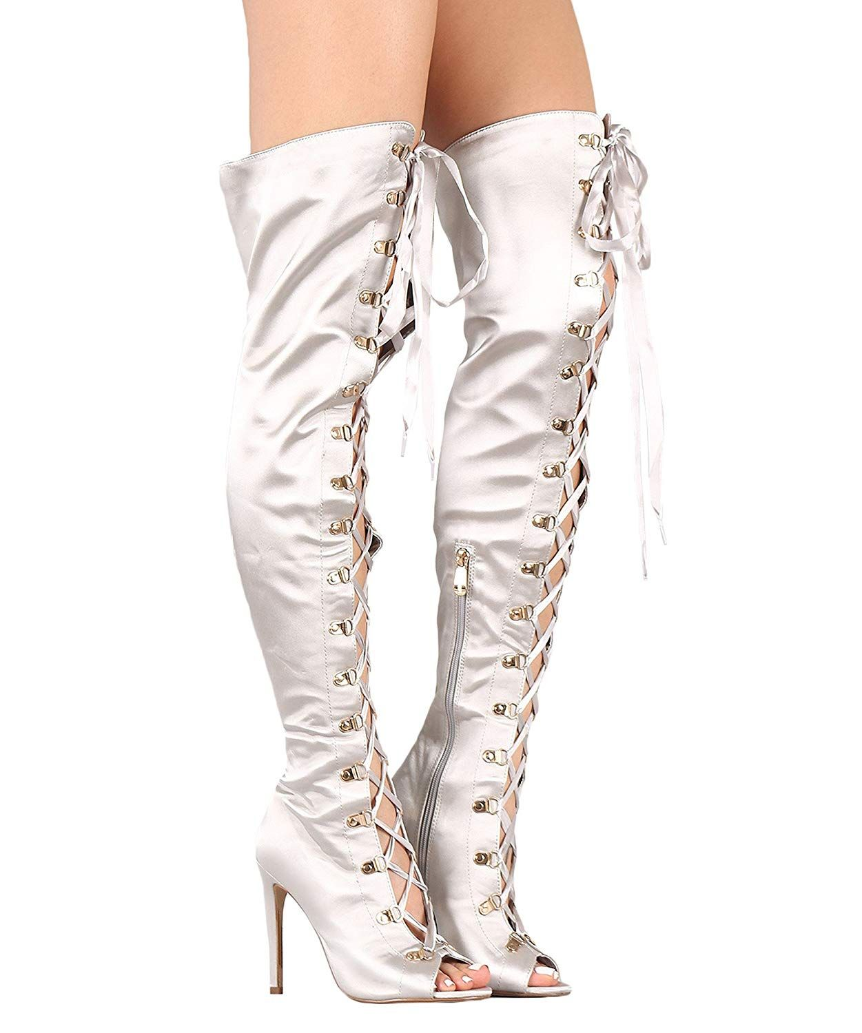 fdae5c99e4d RF ROOM OF FASHION Women s Lace up Sexy High Heel Over The Knee Thigh High  Boots     Very kind of your presence to drop by to view our photo.