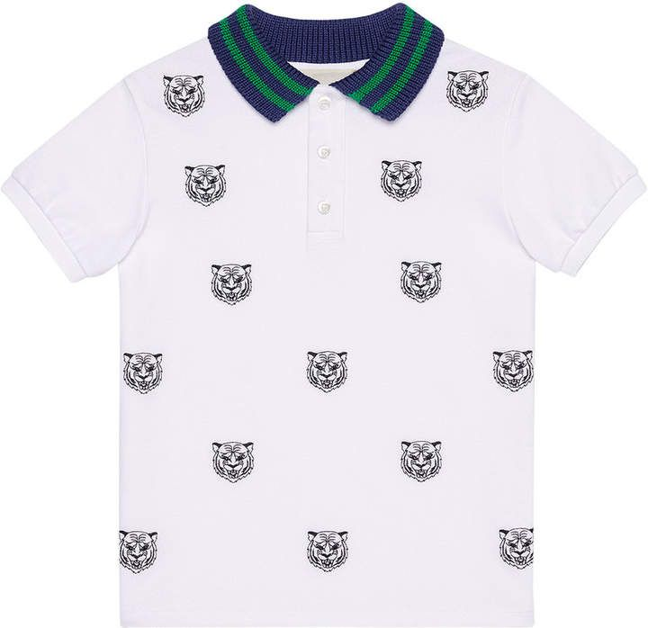 707670ecf Gucci Kids Children's polo with tiger heads embroidery in 2019 ...