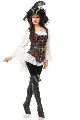 da9dc5de1ec PIRATE LADY blouse vest sea captain renaissance womens halloween costume XS