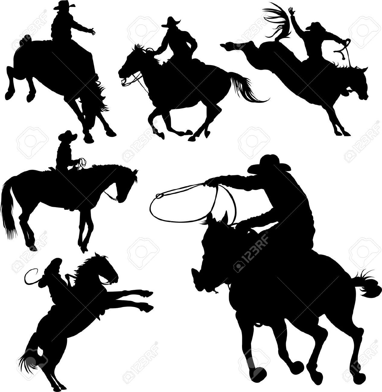 Cowboys On Horses Silhouettes On A White Background Horse Silhouette Cowboy On Horse Western Clip Art
