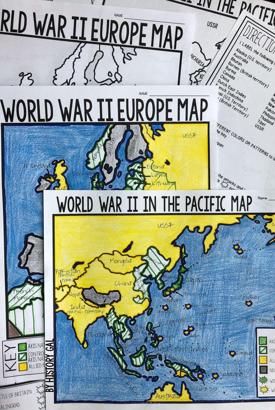 World War II (World War 2) Map Activity   Make World Or US History