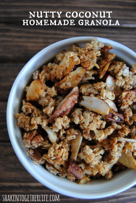 Homemade granola brimming with almonds, pecans and coconut - SO good! Nutty Coconut Granola from Shaken Together Life
