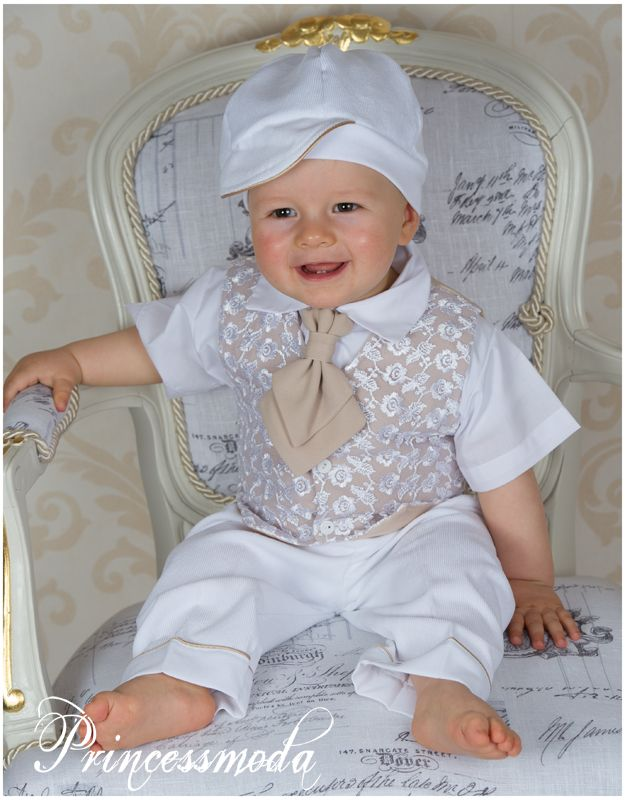 PAUL - BABYANZUG Sommer-Taufanzug in creme - Princessmoda ...