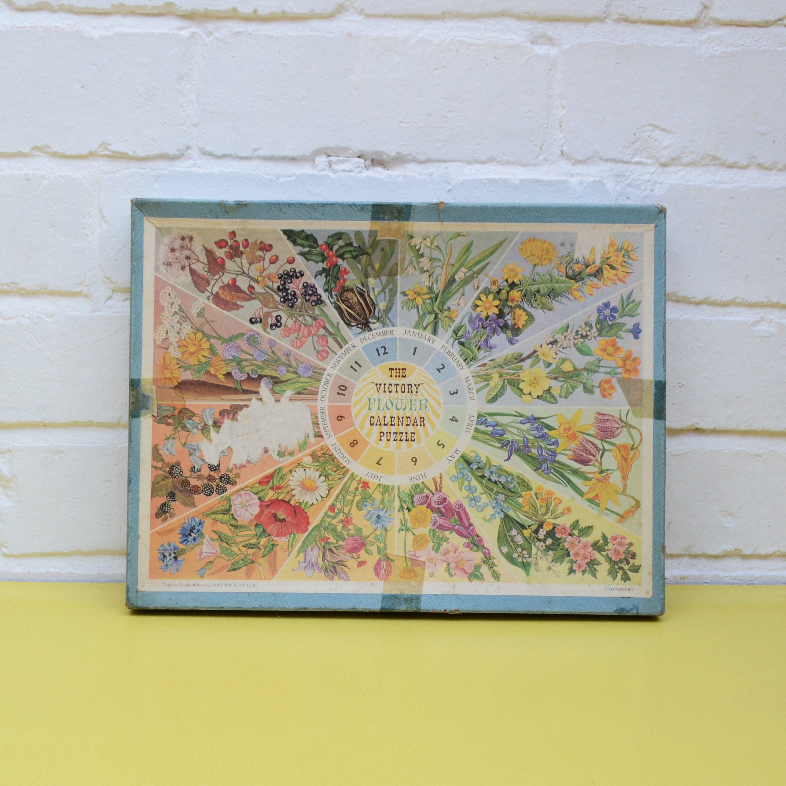 Vintage Flower Puzzle The Victory Flower Calendar Puzzle Floral Puzzle Wooden Puzzle Pastel Floral Puzzle 5 Flower Calendar Vintage Flowers Flower Puzzles