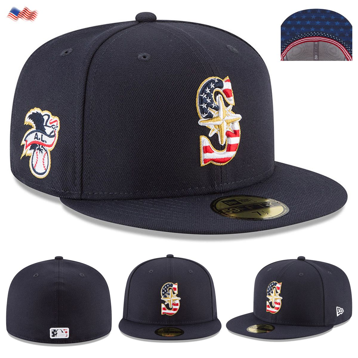 e4c714b2 Celebrate the 4th of July 2018 holiday in style when you grab this Stars &  Stripes Seattle Mariners On-Field 59FIFTY Fitted Hat from New Era.