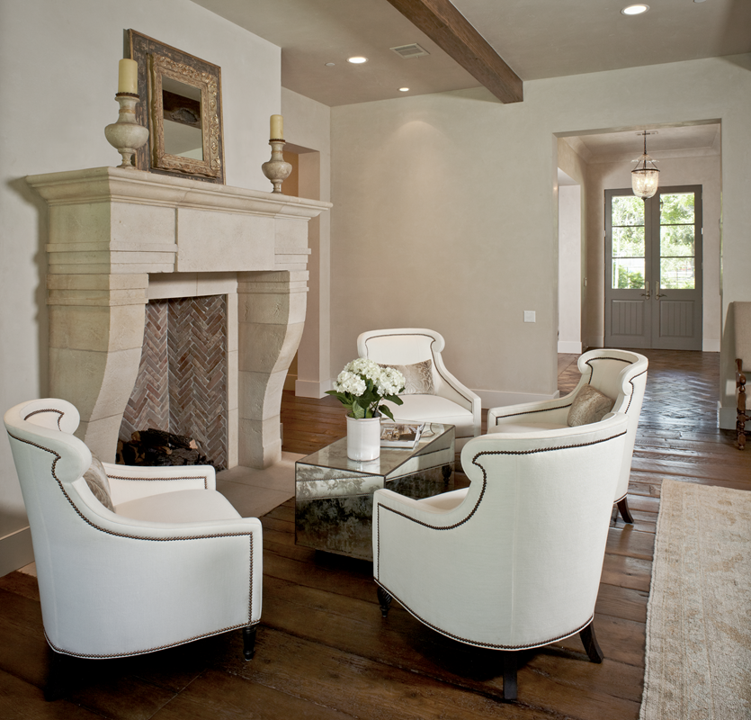 Love The Old Brick And Wood Floors And The Upholstery Fireplace Seating Living Room Furniture Layout Family Room Design